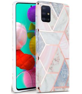 """Rožinis dėklas su marmuro efektu Samsung Galaxy A71 telefonui """"Tech-Protect Marble"""""""
