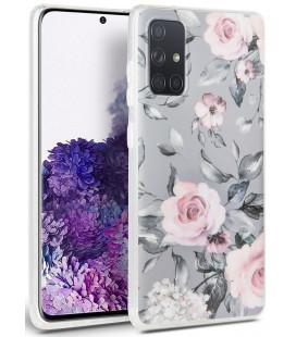 """Pilkas dėklas Samsung Galaxy A71 telefonui """"Tech-protect Floral"""""""