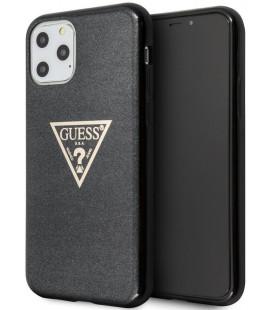 "Juodas dėklas Apple iPhone 11 Pro Max telefonui ""GUHCN65SGTLBK Guess Solid Glitter Cover"""