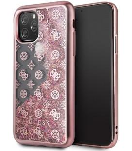 """Rausvai auksinės spalvos dėklas Apple iPhone 11 Pro telefonui """"GUHCN58PEOLGP Guess 4G Peony Glitter Cover"""""""