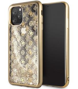 """Auksinės spalvos dėklas Apple iPhone 11 Pro Max telefonui """"GUHCN65PEOLGG Guess 4G Peony Glitter Cover"""""""