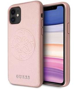 """Rausvai auksinės spalvos dėklas Apple iPhone 11 telefonui """"GUHCN61RSSASRG Guess Saffiano Cover"""""""