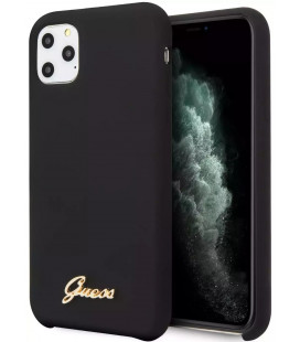"Juodas dėklas Apple iPhone 11 Pro Max telefonui ""GUHCN58LSLMGBK Guess Silicone Vintage Cover"""