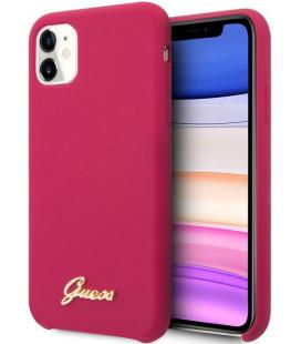 "Raudonas dėklas Apple iPhone 11 telefonui ""GUHCN61LSLMGRE Guess Silicone Vintage Cover Burgundy"""