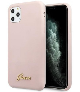 "Rožinis dėklas Apple iPhone 11 Pro Max telefonui ""GUHCN65LSLMGLP Guess Silicone Vintage Cover"""