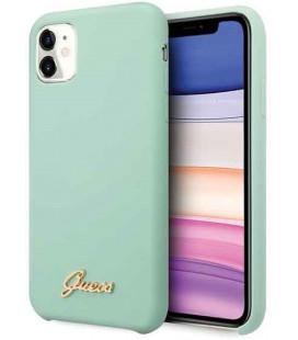 "Žalias dėklas Apple iPhone 11 telefonui ""GUHCN61LSLMGGR Guess Silicone Vintage Cover"""