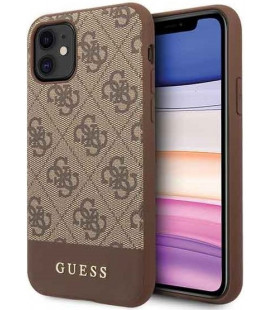 "Rudas dėklas Apple iPhone 11 telefonui ""GUHCN61G4GLBR Guess 4G Stripe Cover"""