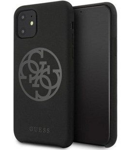 "Juodas dėklas Apple iPhone 11 telefonui ""GUHCN61LS4GBK Guess 4G Silicone Tone Cover"""