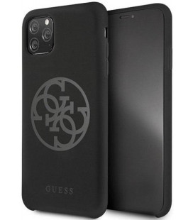 "Juodas dėklas Apple iPhone 11 Pro Max telefonui ""GUHCN65LS4GBK Guess 4G Silicone Tone Cover"""