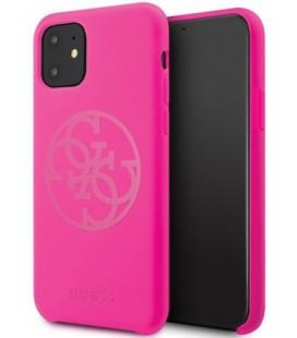 "Rožinis dėklas Apple iPhone 11 telefonui ""GUHCN61LS4GFU Guess 4G Silicone Tone Cover"""