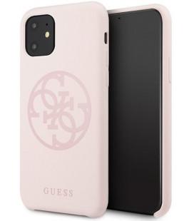 """Šviesiai rožinis dėklas Apple iPhone 11 telefonui """"GUHCN61LS4GLP Guess 4G Silicone Tone Cover"""""""