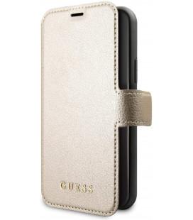 """Auksinės spalvos atverčiamas dėklas Apple iPhone 11 Pro Max telefonui """"GUFLBKSN65IGLGO Guess Iridescent Book Case"""""""