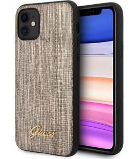 """Auksinės spalvos dėklas Apple iPhone 11 telefonui """"GUHCN61PCUMLLIGO Guess Lizard Cover"""""""
