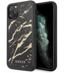 "Juodas dėklas Apple iPhone 11 Pro Max telefonui ""GUHCN58MGGBK Guess Marble Glass Cover"""