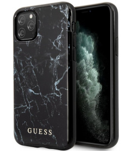 "Juodas dėklas Apple iPhone 11 Pro Max telefonui ""GUHCN65PCUMABK Guess Marble Design Cover"""