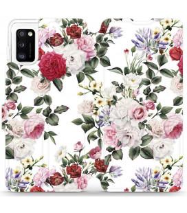 """Atverčiamas dėklas """"Gėlės"""" Samsung Galaxy A41 telefonui """"Mobiwear MD01S"""""""