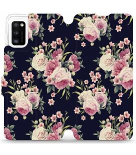 """Atverčiamas dėklas """"Laukinės rožės"""" Samsung Galaxy A41 telefonui """"Mobiwear V068P"""""""