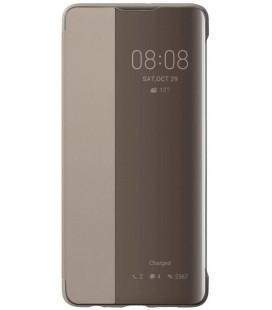 """Originalus rudas (Khaki) atverčiamas dėklas Huawei P30 telefonui """"S-View Case"""""""
