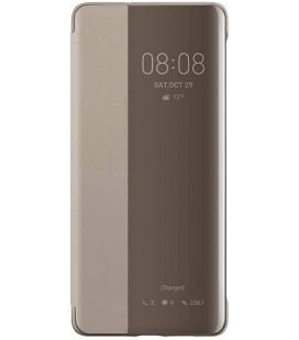 """Originalus rudas (Khaki) atverčiamas dėklas Huawei P30 Pro telefonui """"S-View Case"""""""