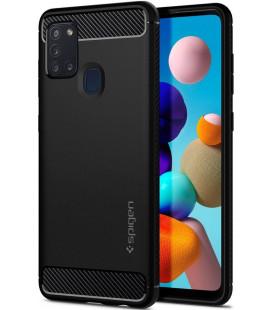 "Juodas dėklas Samsung Galaxy A21S telefonui ""Spigen Rugged Armor"""