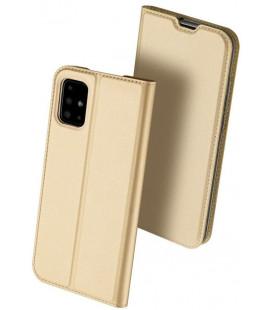 """Auksinės spalvos atverčiamas dėklas Samsung Galaxy A51 telefonui """"Dux Ducis Skin Pro"""""""