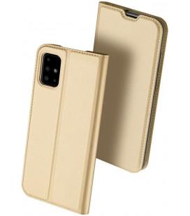 """Auksinės spalvos atverčiamas dėklas Samsung Galaxy A71 telefonui """"Dux Ducis Skin Pro"""""""