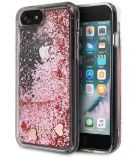 "Rožinis dėklas Apple iPhone 7/8/SE 2020 telefonui ""GUHCI8GLHRERG Guess Glitter Floating Hearts Cover"""