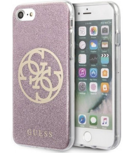 "Rožinis dėklas Apple iPhone 7/8/SE 2020 telefonui ""GUHCI8PCUGLPI Guess Glitter 4G Circle Cover"""