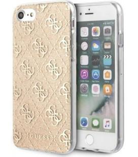 "Auksinės spalvos dėklas Apple iPhone 7/8/SE 2020 telefonui ""GUHCI8PCU4GLGO Guess Glitter 4G Solid Cover"""
