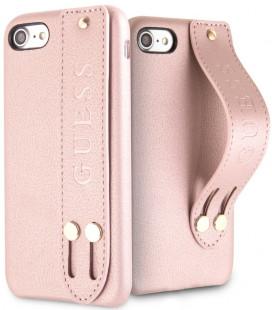 """Rausvai auksinės spalvos dėklas Apple iPhone 7/8/SE 2020 telefonui """"GUHCI8SBSRO Guess Saffiano Strap Case"""""""