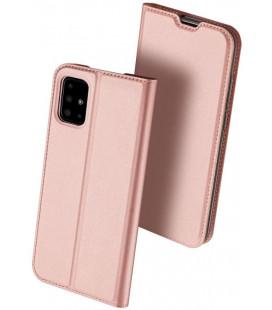 """Rausvai auksinės spalvos atverčiamas dėklas Samsung Galaxy A41 telefonui """"Dux Ducis Skin Pro"""""""