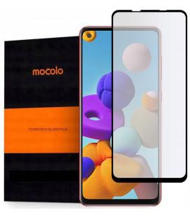 """Juodas apsauginis grūdintas stiklas Samsung Galaxy A21S telefonui """"Mocolo TG Full Glue"""""""