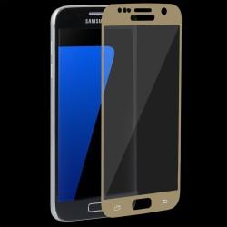 """Stiklo apsauga - lenktas auksinės spalvos grūdintas stiklas """"Tempered Glass"""" Samsung Galaxy S7 G930 telefonui."""