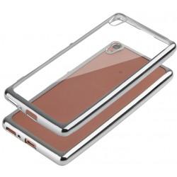 """Sidabrinės spalvos silikoninis dėklas Sont Xperia XA Telefonui """"Glossy"""""""