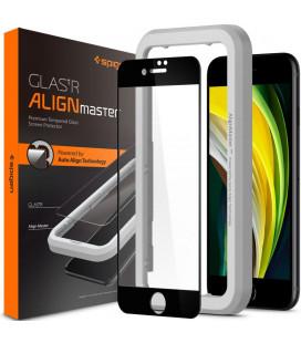 """Juodas apsauginis grūdintas stiklas Apple iPhone 7/8/SE 2020 telefonui """"Spigen AlignMaster Glas tR"""""""