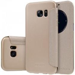 """Atverčiamas auksinės spalvos dėklas Samsung Galaxy S7 Edge G935 telefonui """"Nillkin Sparkle S-View"""""""