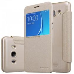 """Atverčiamas auksinės spalvos dėklas Samsung Galaxy J5 2016 J510 Telefonui """"Nillkin Sparkle S-View"""""""