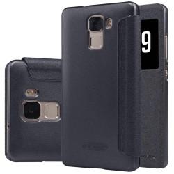 """Atverčiamas juodas dėklas Huawei Honor 7 Telefonui """"Nillkin Sparkle S-View"""""""