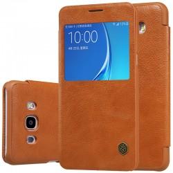 """Odinis rudas atverčiamas dėklas Samsung Galaxy J7 2016 J710 telefonui """"Nillkin Qin S-View"""""""