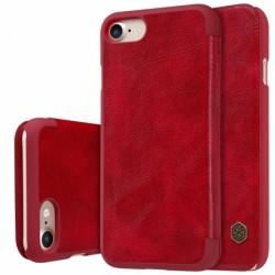 """Odinis raudonas atverčiamas dėklas Apple iPhone 7 telefonui """"Nillkin Qin"""""""