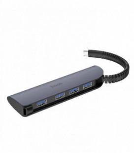 Adapteris Hoco HB12 iš Type-C į 4X USB metalinis pilkas