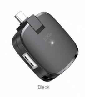Adapteris Hoco HB11 iš Type-C į 3X USB juodas