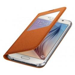 """Originalus oranžinis dėklas """"S View Cover"""" Samsung Galaxy S6 telefonui ef-cg920boe"""
