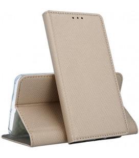 """Auksinės spalvos atverčiamas dėklas Huawei P40 Lite telefonui """"Smart Magnet"""""""