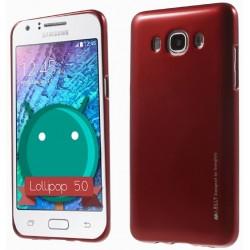 """Raudonas silikoninis dėklas Samsung Galaxy J3 2016 telefonui """"Mercury iJelly Case Metal"""""""