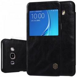 """Odinis juodas atverčiamas dėklas Samsung Galaxy J7 2016 J710 telefonui """"Nillkin Qin S-View"""""""