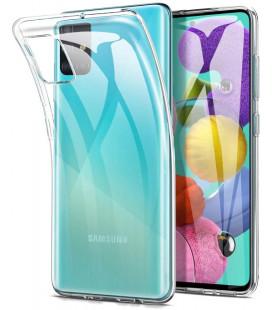 Skaidrus plonas 0,3mm silikoninis dėklas Samsung Galaxy A51 telefonui