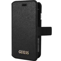 """Juodas atverčiamas dėklas Apple iPhone 7 telefonui """"Guess Saffiano"""" GUFLBKP7TBK"""