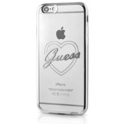 """Sidabrinės spalvos silikoninis dėklas Apple iPhone 7 telefonui """"Guess Heart"""""""