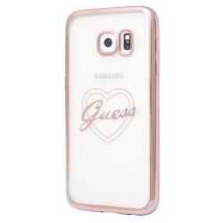 """Rausvai auksinės spalvos silikoninis dėklas Samsung Galaxy S7 Edge telefonui """"Guess Heart"""""""
